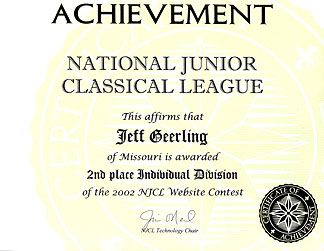 NJCL Website Contest Award Certificate